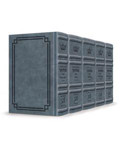 Interlinear Machzor 5 Vol Set Ashkenaz - Full-Size Blue Lagoon Signature Leather Collection
