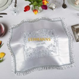 Art Judaica:Challah Cover-White Satin With Silver Embroidered Floral Design-Shabbat and Yom Tov Mot