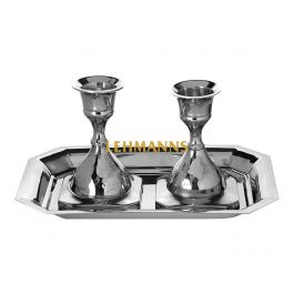 Candlesticks With Tray--Nickel 7.6cm