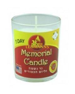 Ner Mitzvah Yahrzeit Candle in Glass Cup 1 Day