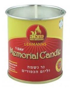 Ner Mitzvah Yahrzeit Candle in Tin 1 Day - Pack of 12
