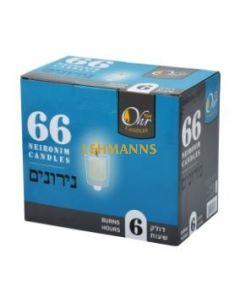 Ner Mitzvah Ohr Neironim Candles 6 Hour Ohr - 66 Pk