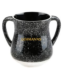 Art Judaica: Washing Cup - Black Aluminium With Sparkling Silver Stripes