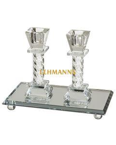 Art Judaica: Candlesticks - Crystal With Elegant Tray 14cm