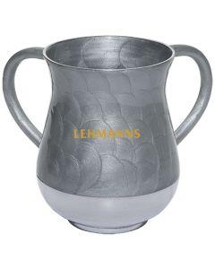Art Judaica: Washing Cup - Silver Circular Pattern- Aluminium