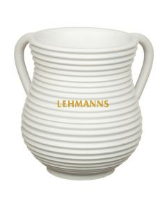 Art Judaica: Washing Cup - Polyresin-Ceramic Effect- White