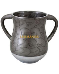 Art Judaica: Washing Cup - Grey Circular  Pattern- Aluminium