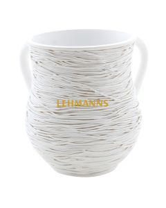 Art Judaica: Washing Cup - Polyresin White Strings Design