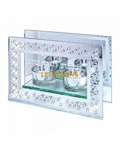 Art Judaica: Candlesticks - Glass-Framed with Diamond Design  12cm