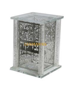 Art Judaica: Tzedakah Box - Crystal With Jerusalem Design