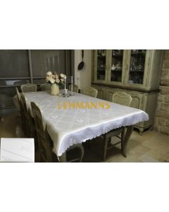 Art Judaica: White on White Fabric Tablecloth-280 x140 cm with Shabbat and Yom Tov Design