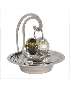 Art Judaica:Mayim Achronim Set-Hammered Stainless Steel with Overhanging Cup Holder