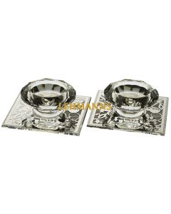 Art Judaica: Candlesticks - Crystal with Metal Plate 2 Pack 5cm