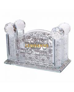 Art Judaica: Napkin/Birkat HaMazon Holder - Ornate Crystal Design