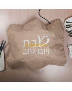 Art Judaica: Hot Plate Cover - Beige-Shabbat and Yom Tov Motif