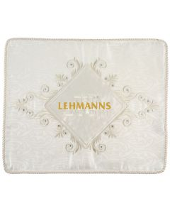 Art Judaica: Challah Cover - Off White Embroidered with Silver-Shabbat and Yom Tov Motif