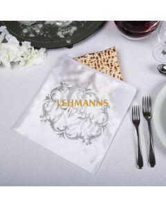 Art Judaica: Afikoman Bag - White/Silver Design