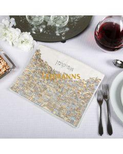 Yair Emanuel: Afikoman Cover - Embroidered - Jerusalem Silver + Gold