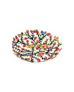 Yair Emanuel: Bowl - Small - Laser Cut + Hand Painted with Pomegranate Decoration