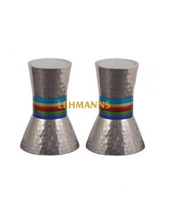Yair Emanuel: Candlesticks - Small-Hammered Metal with Multicoloured Rings 13 cm