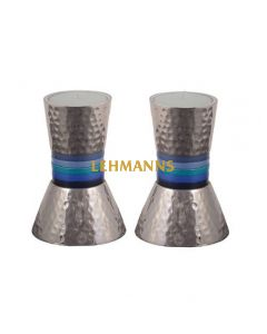 Yair Emanuel: Candlesticks - Small-Hammered Metal with Blue Rings  13 cm