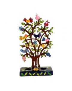 Yair Emanuel: Candlesticks -Laser Cut with Hand Painted  Pomegranate Tree