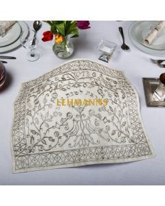 Yair Emanuel: Challah Cover -Embroidered - Paper Cut in Gold