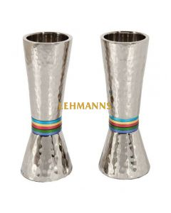 Yair Emanuel: Candlesticks-Hammered Metal with Multicoloured Rings  14cm