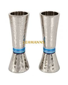 Yair Emanuel: Candlesticks-Hammered Metal with Blue Rings 14cm