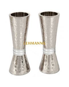 Yair Emanuel: Candlesticks - Hammered Metal with Silver Rings 14cm