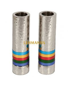 Yair Emanuel:Candlesticks- Cylinder Shaped-Hammered Metal  with Multicoloured Rings
