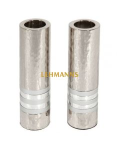Yair Emanuel: Candlesticks-Cylinder Shape --Hammered Metal  with Silver Ring 11cm