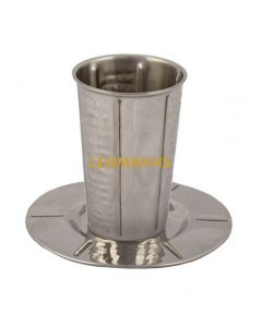 Yair Emanuel:Kiddush Cup and Tray- Hammered Stainless Steel with Hexagon Design