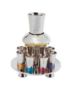 Yair Emanuel:lWine Fountain Set - Hammered Metal with Multicolour Decoration