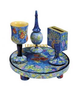 Yair Emanuel: Havdallah Set - Wood with Hand Painted Seven Species Images
