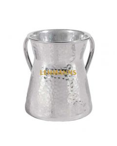 Yair Emanuel:Washing Cup -Hourglass Design- Hammered Stainless Steel-Silver Colour