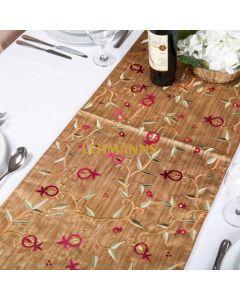 Yair Emanuel:Table Runner - Embroidered-Pomegranate Design-Gold 100 cm