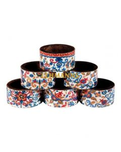 Yair Emanuel:Napkin Rings -Wood- Set of 6 with Multicolor Pomegranate Design