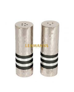 Yair Emanuel:Salt & Pepper Shakers-Hammered Nickel with Silver Rings