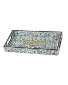 """Yair Emanuel:Tray-Wood with Ornate Floral Pattern and """"Shabbat Shalom""""  Motif"""