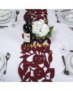 Dorit Judaica: Table Runner -Felt with Cutout Pomegranate Design- Bordeaux- 120cm