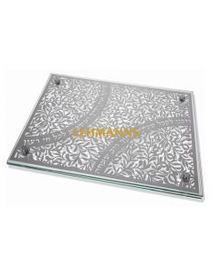 Dorit Judaica:Challah Board-Glass & Stainless Steel-Pomegranate Design With Shabbat Verses