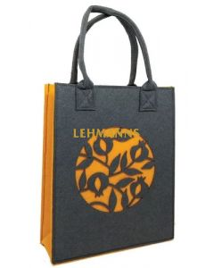 Dorit Judaica: Ladies and Girls Felt Tote Bag-Yellow/Mustard-Pomegranate Pattern