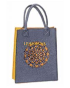 Dorit Judaica: Ladies and Girls Felt Tote Bag-Yellow/Mustard-Mandala Pattern