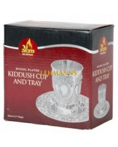 Ner Mitzvah Kidush Cup & Plate- Silver Plated