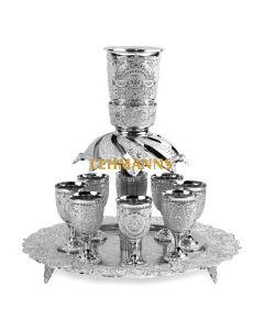 Kiddush Wine Fountain Se-t Filigree Design -Silver Plated 8 Cups