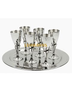 Set Of 6 Brass Cups (30 ML) With Plate-Hammered Metal