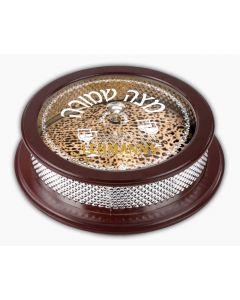 Matzah Holder- Wood And Silver Plated-Shemurah Matzah Motif-37x13 cms