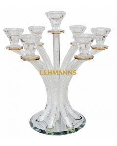 Candelabra-5 Branches-Curved -Crystal With Crushed Glass-Gold Decoration 35.5cm