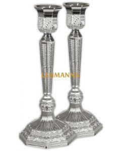Candlesticks - Silver plated - Filigree Design 19cm